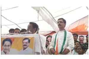 कांग्रेस प्रत्याशी राजवीर सिंह बघेल के समर्थन में पूर्व मुख्यमंत्री कमलनाथ ने सभा को संबोधित किया।