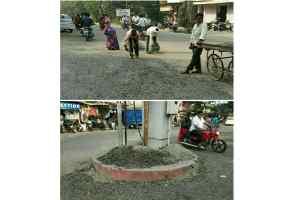 एक हफ्ते में ही उखड़ गई 40 लाख से मरम्मत हुई सड़कें